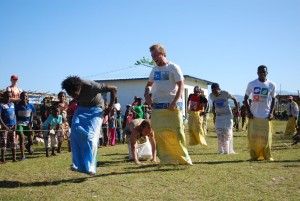 Photo of a sack race during World Environment Day